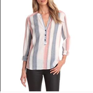 Sanctuary Provence Blues Tunisian Stripe blouse XS
